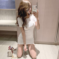 Dress Summer 2020 White, black S,M,L Mid length dress singleton  Short sleeve commute Crew neck High waist Solid color Socket Pencil skirt routine Others 18-24 years old Type O AMRAELADY Korean version More than 95% brocade cotton
