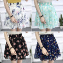 skirt Summer 2020 S M L XL Short skirt commute High waist A-line skirt Broken flowers Type A 18-24 years old More than 95% Chiffon A lady of virtue other Pleated printing Korean version Other 100%