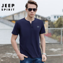 T-shirt Youth fashion White, gray, black, army green, royal blue thin M 100-130 kg, l 130-150 kg, XL 150-170 kg, 2XL 170-180 kg, 3XL 180-200 kg Jeep / Jeep Short sleeve V-neck easy Other leisure summer Cotton 95% polyurethane elastic fiber (spandex) 5% youth routine American leisure 2021 Solid color