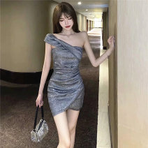 Dress Summer 2021 S,M,L Short skirt singleton  Sleeveless Sweet Slant collar High waist Solid color zipper One pace skirt other camisole 18-24 years old Type X 81% (inclusive) - 90% (inclusive) other other Ruili