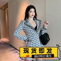woolen coat Winter 2020 S, M Picture color polyester fiber 81% (inclusive) - 90% (inclusive) Medium length Long sleeves commute lattice Self cultivation Korean version 18-24 years old Resin fixation, nail bead, three-dimensional decoration, splicing, pocket, tassel Solid color polyester fiber Tweed