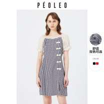 Dress Summer 2021 Navy dark red 36/S/160 38/M/165 40/L/170 Mid length dress Short sleeve lattice Socket other Lotus leaf sleeve 25-29 years old Type H Peoleo / piaoyei Button DP3212488 51% (inclusive) - 70% (inclusive) other polyester fiber Polyester 65% viscose 35%