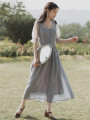 Dress Summer 2020 grey S,M,L Mid length dress singleton  Short sleeve commute V-neck High waist Solid color zipper A-line skirt routine Type A Retro Stitching, mesh, lace
