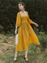 Dress Summer of 2019 yellow S,M,L Mid length dress singleton  commute square neck High waist Solid color other A-line skirt puff sleeve Type A Other / other Retro Tassels, backless, bandages 81% (inclusive) - 90% (inclusive) Chiffon