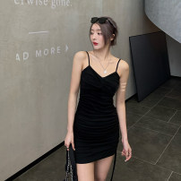 Dress Spring 2021 black S,M,L Short skirt singleton  Sleeveless commute V-neck High waist Solid color Socket One pace skirt camisole 25-29 years old Type X Korean version backless 91% (inclusive) - 95% (inclusive) cotton