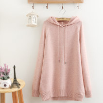 Women's large Spring 2021 Green, pink Large XXXL, large XXXXL, large XXXXL sweater singleton  commute easy moderate Socket Long sleeves Solid color Korean version Hood Medium length other other 81% (inclusive) - 90% (inclusive)