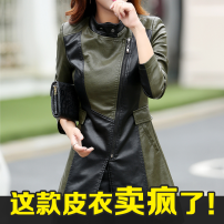 leather clothing Other / other Autumn 2021 M,L,XL,XXL,XXXL,4XL,5XL Green black (single), black (single), green black (plus cotton), black (plus cotton) Medium length Long sleeves Self cultivation commute stand collar zipper routine KFLD-6608 Sheepskin pocket