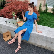 Dress Summer 2021 blue S,M,L Middle-skirt singleton  Short sleeve Sweet square neck middle-waisted Solid color zipper A-line skirt puff sleeve Type A Other / other CGL088X1010 31% (inclusive) - 50% (inclusive) brocade polyester fiber