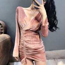 Dress Autumn of 2019 Black, pink Average size Short skirt singleton  Long sleeves commute V-neck High waist Solid color Socket Irregular skirt routine Others 25-29 years old Korean version other other