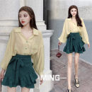 shirt Light yellow [one size], green half skirt S,M,L Summer 2020 other 96% and above Long sleeves Original design Regular Polo collar Single row multi button Bat sleeve Solid color 18-24 years old High waist type Other / other Lotus leaf edge man-made fiber