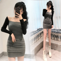 Dress Autumn 2020 High grade grey S,M,L Short skirt singleton  Long sleeves commute Crew neck High waist Solid color Socket One pace skirt routine Others 18-24 years old Type H Korean version