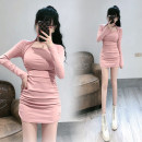 Dress Spring 2021 Black, pink Average size Short skirt singleton  Long sleeves commute Crew neck High waist Solid color Socket One pace skirt routine Others 18-24 years old Type H Ol style