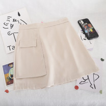 skirt Summer 2020 S,M,L Yellow, apricot, black Short skirt Retro High waist A-line skirt Solid color Type A 18-24 years old