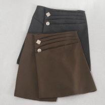 skirt Autumn 2020 S,M,L,XL Brown, grey, black Short skirt commute High waist A-line skirt Solid color Type A 18-24 years old 30% and below other polyester fiber zipper Korean version