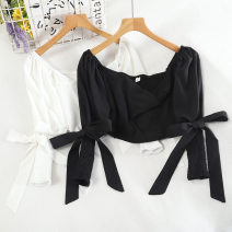 shirt Black, white Average size Winter 2020 other 30% and below Long sleeves Versatile Super short One word collar Socket bishop sleeve 18-24 years old Self cultivation