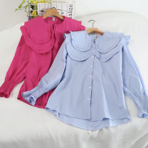 shirt Rose, blue, apricot, white Average size Winter 2020 other 30% and below Long sleeves Versatile Regular Doll Collar Single row multi button bishop sleeve Solid color 18-24 years old Straight cylinder