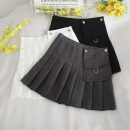skirt Summer 2020 S,M,L,XL Black, white, grey Short skirt commute High waist Irregular Solid color Type A 18-24 years old 30% and below other other Pleated, solid