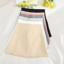 skirt Summer 2020 S,M,L,XL Black, apricot, white, light blue, dark gray, light pink Short skirt Versatile High waist A-line skirt Solid color Type A 18-24 years old 30% and below other PU