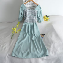 Dress Summer 2020 White, green, yellow M, L Short skirt singleton  Long sleeves commute Crew neck High waist Solid color Socket A-line skirt puff sleeve Others 18-24 years old Type A 30% and below other