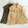 shirt Khaki, army green, white, brick red Average size Spring 2021 other 30% and below Long sleeves Versatile Regular Polo collar Single row multi button routine Solid color 18-24 years old Straight cylinder