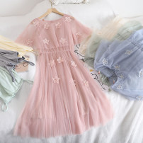 Dress Summer 2020 Green, pink, light blue, apricot Average size Mid length dress Two piece set Sleeveless commute Crew neck High waist Solid color Socket A-line skirt 18-24 years old Type A Korean version