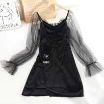 Dress Autumn 2020 black S,M,L Short skirt singleton  Long sleeves square neck High waist Socket A-line skirt puff sleeve Others 18-24 years old Type A 30% and below