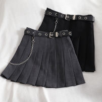 skirt Summer 2020 S,M,L,XL Black, gray Short skirt Versatile High waist Pleated skirt Solid color Type A