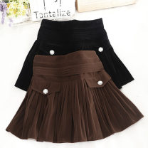 skirt Autumn 2020 S,M,L,XL Brown, black Short skirt Versatile High waist Pleated skirt Solid color Type A 18-24 years old 30% and below