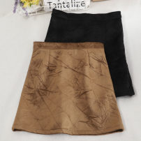 skirt Autumn 2020 S,M,L,XL Khaki, black, grey Short skirt commute High waist A-line skirt Solid color Type A 18-24 years old 30% and below other other zipper Korean version