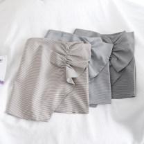 skirt Spring 2020 S,M,L Khaki, grey, black Short skirt Retro High waist A-line skirt lattice Type A 18-24 years old