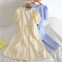 Dress Summer 2020 Black, white, blue, yellow Average size Middle-skirt singleton  Long sleeves commute Crew neck High waist lattice Socket A-line skirt puff sleeve Others 18-24 years old Type A 30% and below Chiffon