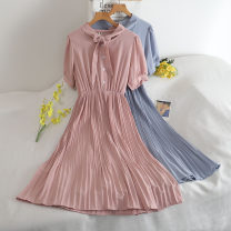 Dress Summer 2020 Black, white, green, apricot, blue, red, pink Average size Mid length dress Two piece set Long sleeves commute Crew neck High waist Solid color Socket Pleated skirt puff sleeve 18-24 years old Type A