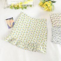 skirt Summer 2020 S,M,L Blue, green, purple Short skirt fresh High waist A-line skirt Broken flowers Type A 18-24 years old Chiffon
