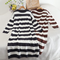 Dress Autumn 2020 Average size longuette singleton  Long sleeves commute Crew neck Loose waist stripe Socket A-line skirt routine Others 18-24 years old Type A Korean version 30% and below other other