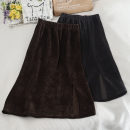 skirt Autumn 2020 Average size Brown, dark grey, black longuette commute High waist A-line skirt Solid color Type A 18-24 years old 30% and below other other fold Korean version