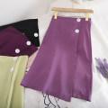 skirt Summer 2020 S,M,L Light purple, dark purple, green, black Middle-skirt Retro High waist High waist skirt Solid color Type A 18-24 years old