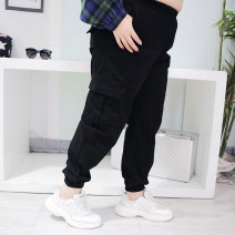 Women's large Spring 2020 Black, off white 32,34,36,38,40,42,44 trousers singleton  commute easy moderate Solid color Korean version Three dimensional cutting Hello, fat girl pocket Ninth pants