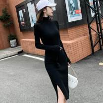 Dress Autumn 2020 Black, apricot, Burgundy, blue S,M,L,XL,2XL,3XL Middle-skirt singleton  Long sleeves commute High collar middle-waisted Solid color Socket One pace skirt routine Others 25-29 years old Type X Korean version Lace up, splice, split IXYQm 51% (inclusive) - 70% (inclusive) knitting