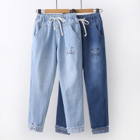 Jeans Spring of 2019 Light blue, dark blue, light blue Capris, dark blue Capris S,M,L,XL,2XL trousers Natural waist Straight pants routine Under 17 Embroidery other PA3723 Other / other 71% (inclusive) - 80% (inclusive)