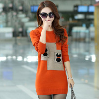 Wool knitwear Winter 2020 It's suitable for [15-105-kg], suitable for [15-105-kg], suitable for [15-105-kg]! Free freight insurance! 】 Black, orange, thickened orange, thickened black Long sleeves singleton  Socket other 30% and below Medium length routine commute Self cultivation Low crew neck