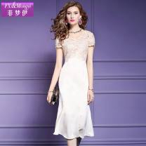 Dress Summer 2020 S,M,L,XL,2XL,3XL Mid length dress singleton  Short sleeve street V-neck middle-waisted Solid color zipper A-line skirt routine Others 30-34 years old Type A FX.&Mongyi Embroidery, beading, zipper 91% (inclusive) - 95% (inclusive) nylon Europe and America