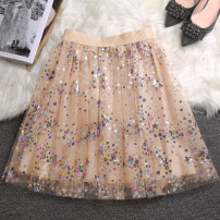 skirt Spring 2021 S,M,L,XL Apricot Short skirt Versatile Natural waist A-line skirt Decor Type A 18-24 years old 81% (inclusive) - 90% (inclusive) Lace polyester fiber Sequins, gauze 201g / m ^ 2 (including) - 250G / m ^ 2 (including)
