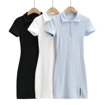 Dress Summer 2021 Black, white, light blue S, M Short skirt singleton  Short sleeve street Polo collar High waist routine Others Europe and America