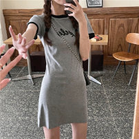 Women's large Summer 2021 Grey dress M recommendation 80-100, l recommendation 100-120, XL recommendation 120-135, 2XL recommendation 135-150, 3XL recommendation 150-165, 4XL recommendation 165-180 Dress singleton  commute moderate Socket Short sleeve Solid color Korean version Crew neck Middle-skirt