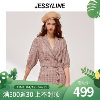 Dress Spring 2020 lattice XS/155 S/160 M/165 L/170 Middle-skirt singleton  three quarter sleeve street tailored collar middle-waisted lattice double-breasted A-line skirt routine Others 18-24 years old Type A Jessy·Line fungus 71% (inclusive) - 80% (inclusive) polyester fiber Europe and America
