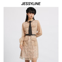 Dress Spring 2021 Apricot XS/155 S/160 M/165 L/170 Middle-skirt singleton  Long sleeves street Polo collar middle-waisted Solid color Single breasted A-line skirt routine Others 25-29 years old Type A Jessy·Line Button More than 95% nylon Polyamide fiber (nylon) 100% Europe and America