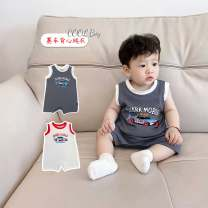 Jumpsuit / climbing suit / Khaki Other / other Class A currency White, Navy 73cm,80cm,90cm,100cm,66cm cotton summer Sleeveless Short climb Korean version There are models in the real shooting nothing Cotton 100% Socket TQ19X18 Freshmen, 3 months, 6 months, 12 months, 2 years old