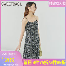 Dress Summer 2021 Blue printing S M L XL Middle-skirt singleton  Sleeveless Sweet other High waist Broken flowers Socket Big swing other Hanging neck style 25-29 years old Type A Sweet basil / Zishu D1FA12222 More than 95% other polyester fiber Polyester 100% Countryside Pure e-commerce (online only)