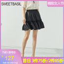 skirt Spring 2021 S M L XL black Short skirt commute High waist A-line skirt Solid color Type A 25-29 years old D1GH12112 More than 95% Sweet basil / Zishu polyester fiber Open line decoration Simplicity Polyester 100% Pure e-commerce (online only)