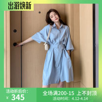 Dress Summer 2021 Blue, orange S,M,L,XL longuette singleton  elbow sleeve commute Polo collar Loose waist Solid color Single breasted other routine Others Type H Other / other Korean version WN0002185 51% (inclusive) - 70% (inclusive) other polyester fiber
